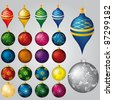 Vector set of 22 Christmas decorations - stock photo