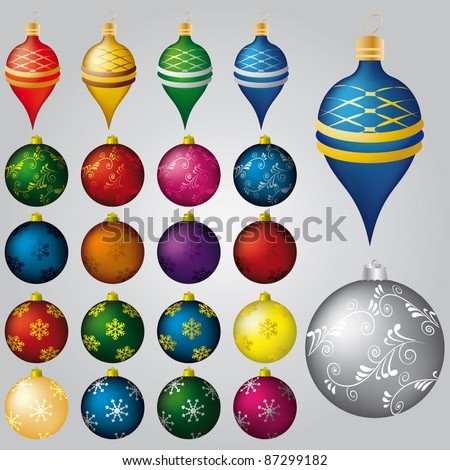 Vector set of 22 Christmas decorations - stock vector