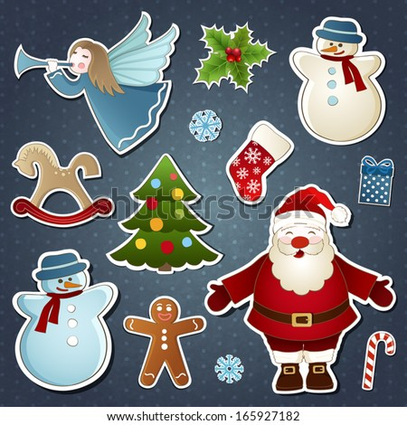 Vector set of Christmas elements at the vintage background - stock vector