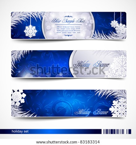 Vector set of Christmas festive banners with snowflakes and silver fir twig