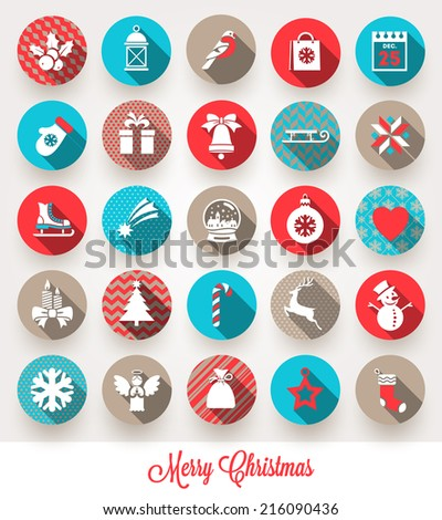 Vector set of Christmas flat icons with long shadows - stock vector
