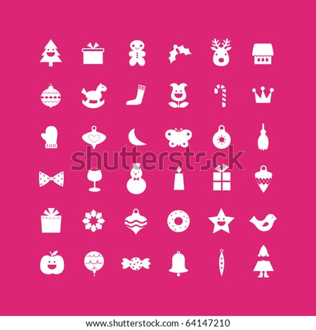 vector set of christmas icons - stock vector