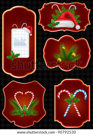 vector set of Christmas labels
