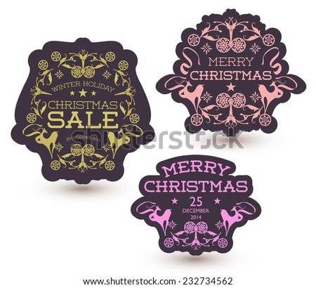 Vector set of Christmas Sale Tag - stock vector