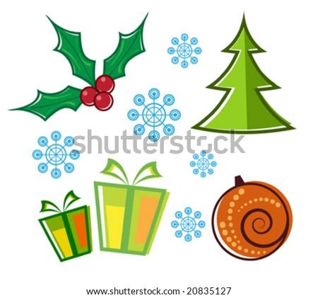 vector set of Christmas symbols - stock vector