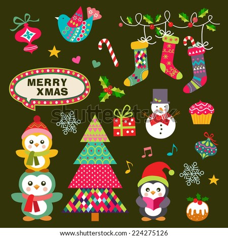 Vector set of Christmas symbols, icons, elements and decoration - stock vector