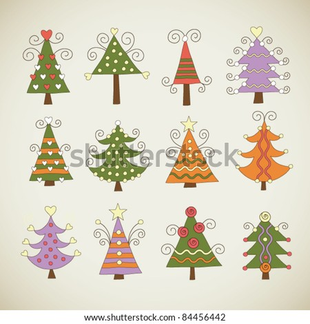 Vector set of christmas tree - stock vector