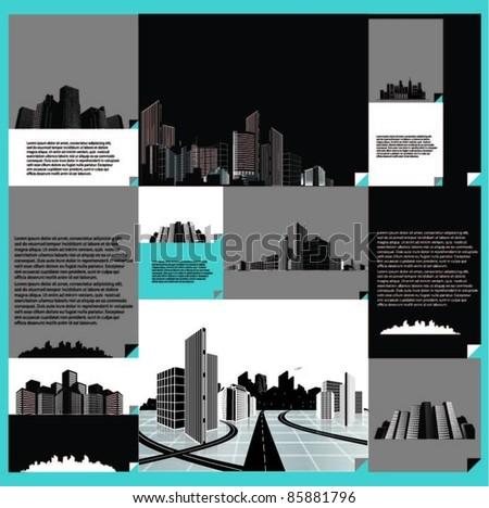 vector set of city designs - stock vector