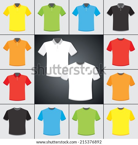 Vector set of classic t-shirts and Polo shirts. Six colors.