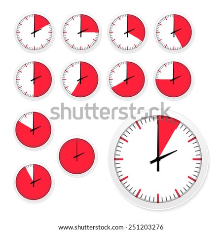 Vector set of clock timers. isolated on white background - stock vector