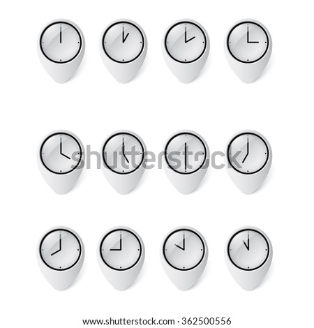Vector set of clocks showing hourly times from day to night.12 hours clocks in glass pin.  - stock vector