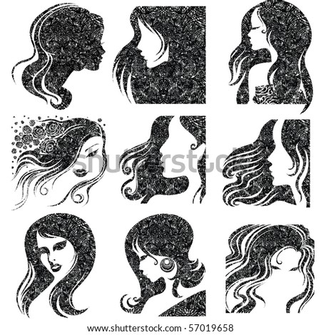"""Vector set of closeup grunge portrait of beautiful woman with long hair (From my big """"Vintage woman collection """") - stock vector"""
