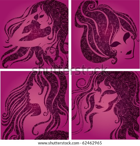 "Vector set of closeup silhouette pink portrait of beautiful woman (From my big ""Vintage girl collection"") - stock vector"