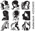 "Vector set of closeup silhouette portrait of beautiful woman with long hair (From my big ""Vintage woman collection "") - stock photo"