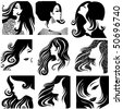 """Vector set of closeup silhouette portrait of beautiful woman with long hair (From my big """"Vintage woman collection """") - stock vector"""