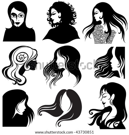 "Vector set of closeup silhouette portrait of beautiful woman with long hair (From my big ""Vintage woman collection "") - stock vector"