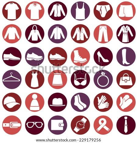 Vector Set of Clothes Icons - stock vector