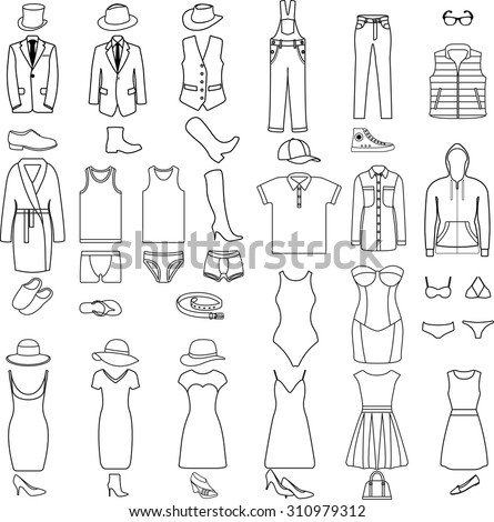 Vector set of clothes icons. Clothes and accessory. Collection of Women's and Men's fashion. - stock vector
