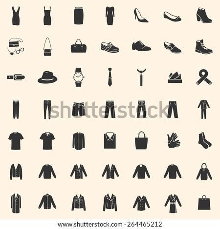 Vector Set of 49 Clothes Icons. Mens and Womens Fashion. Casual, Sport, Bussines and Evening Wear. Footwear. Clothes. Accessories. Overcoat. - stock vector