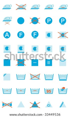 Vector Set Of Clothing Care Symbols - stock vector