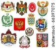 vector set of coats of arms - stock vector