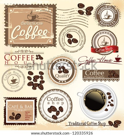 Vector set of coffee design elements - stock vector