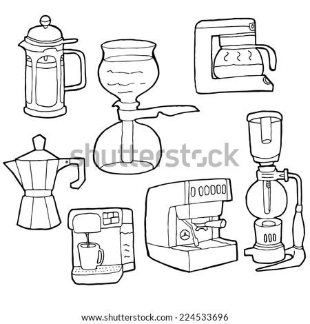 vector set of coffee maker - stock vector