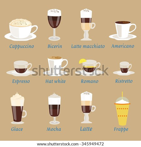 Vector set of coffee menu with a cups of coffee drinks in vintage style. Ingredients coffee: espresso, mocha, macchiato, americano, latte, cappucino, flat white, Glace, romano, ristretto, frappe  - stock vector