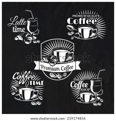 Vector set of coffee shop logos and text symbols on a chalkboard background for your design - stock vector