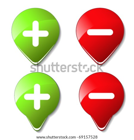 Vector set of color buttons - plus, minus - stock vector