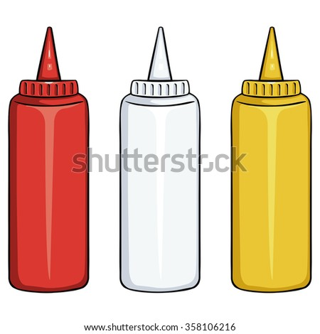 Vector Set of Color Fast Food Plastic Bottles. Ketchup, Mayo, Mustard
