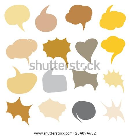 Vector Set of Color Flat Comics Bubbles. Talk and Think - stock vector