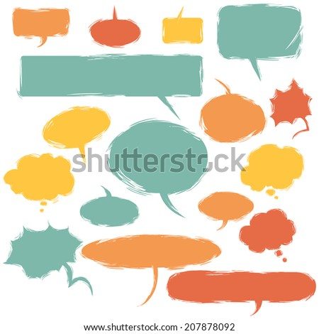 Vector Set of Color Grunge Comics  Bubbles. Talk and Think