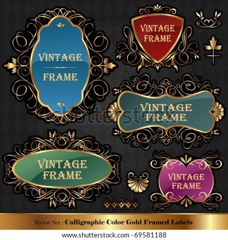 Vector set of Color luxury ornate frames - stock vector