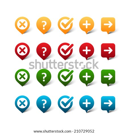 Vector set of color map pins with signs (cross, tick, add, okey, arrow, question mark) - stock vector