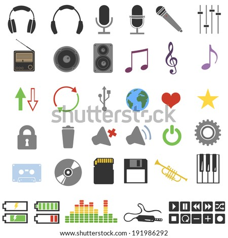 vector set of 46 color music icons - stock vector