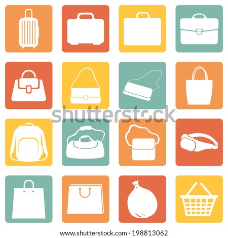 Vector Set of Color Square Bags Icons - stock vector
