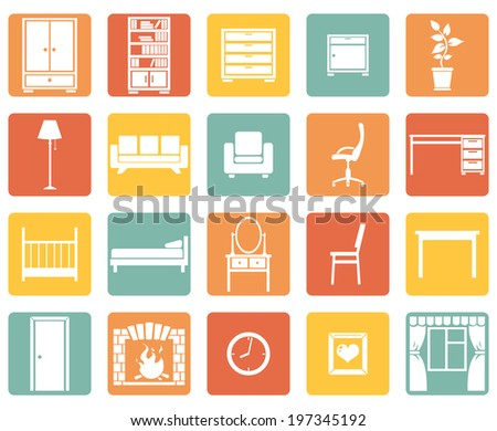 Vector Set of Color Square Furniture Icons - stock vector