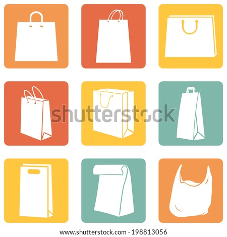 Vector Set of Color Square Shopping Bags Icons - stock vector