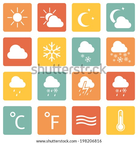 Vector Set of Color Square Weather Icons - stock vector