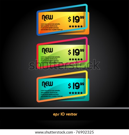 vector set of colored banners and sale tags - stock vector