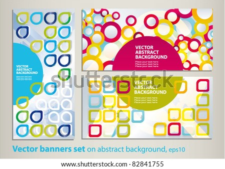 Vector set of colored banners on the patterned background - stock vector