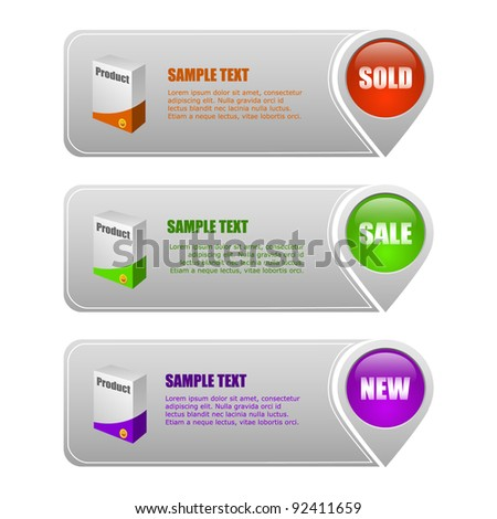 vector set of colored banners sale and advertisement - stock vector