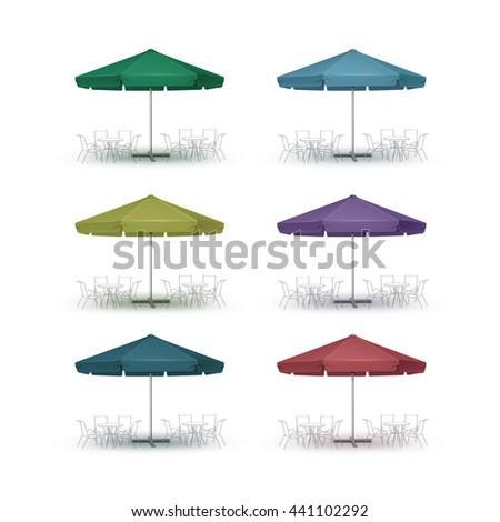 Vector Set Of Colored Blue Green Purple Blank Outdoor Market Beach Cafe Bar  Pub Restaurant Round
