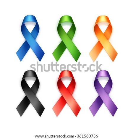 Vector Set of Colored Breast Cancer Ribbons Isolated on White Background - stock vector