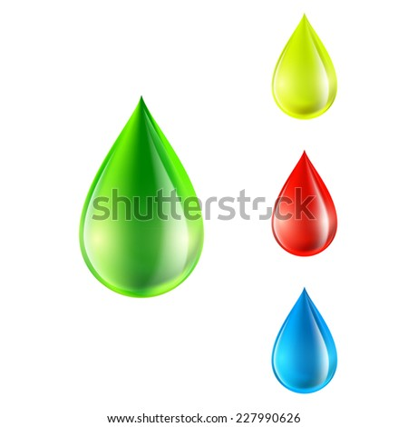 vector set of colored drops - stock vector