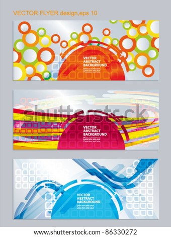 Vector set of colored flyer. 3d abstract elements on the patterned background - stock vector