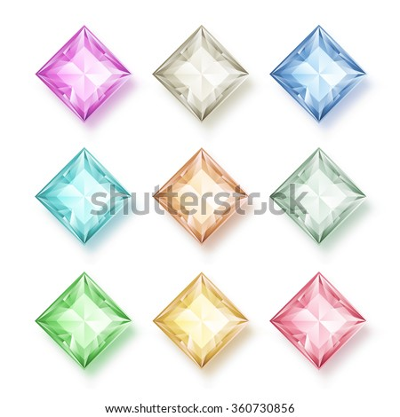 Vector set of colored gem stones, square diamonds on white, eps10 - stock vector