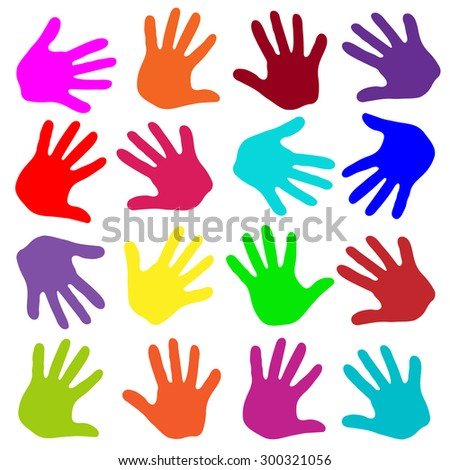 Vector Set of colored human footprints tracks of hands