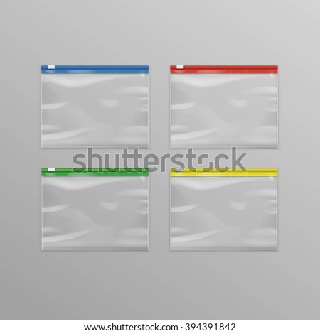 Vector Set of Colored Red Blue Green Yellow Sealed Empty Transparent Plastic Zipper Bags Close up Isolated on Background - stock vector